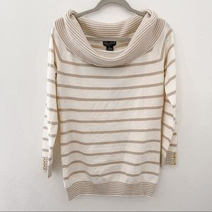 Questions Cowl Neck Striped Metallic Sweater PL